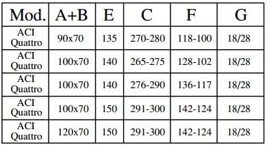 Tabella misure scala retrattile ad elementi